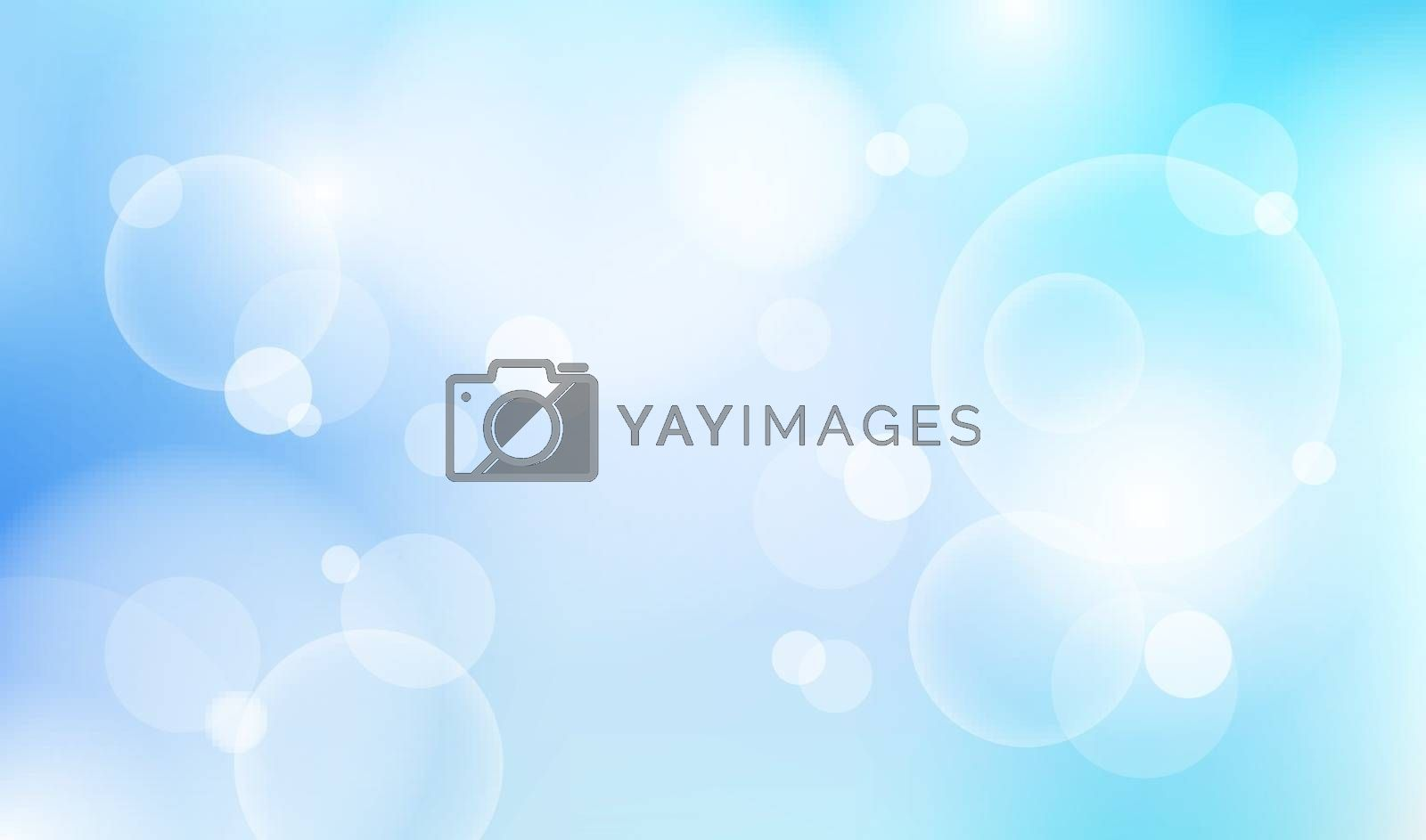 Abstract natural blue sky blurred light bokeh background. Vector illustration