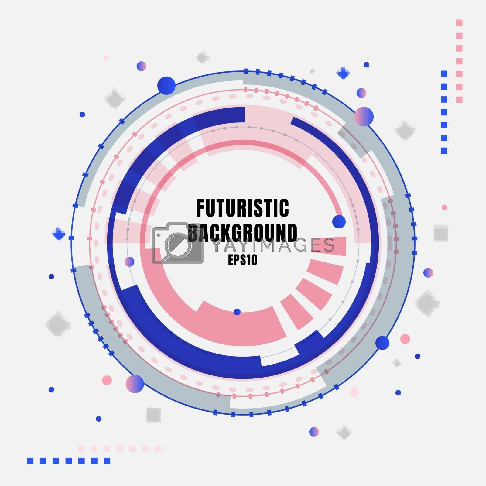 Abstract technology futuristic blue and pink gear circles with geometric elements on white background. Vector illustration