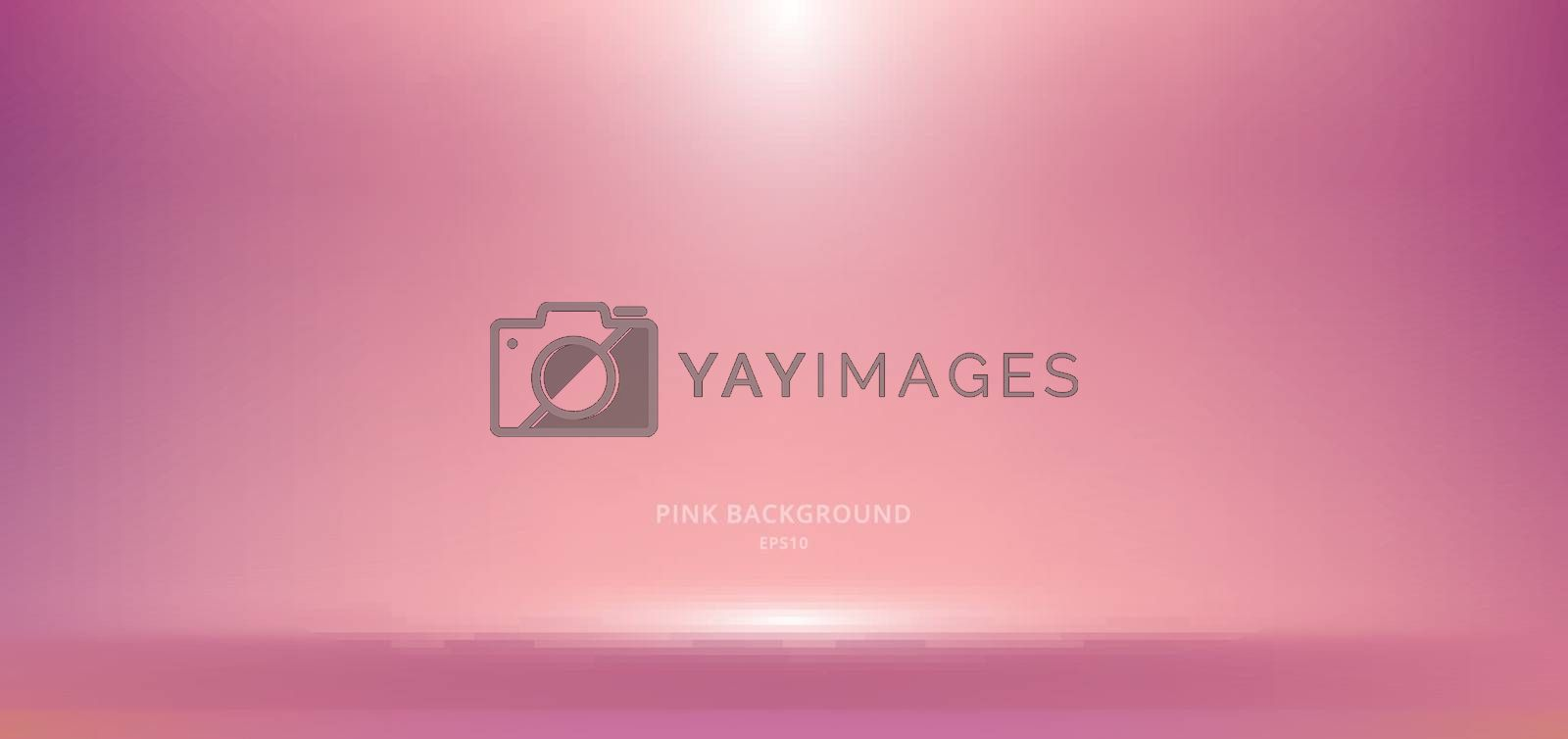 3D empty pink studio room background with spotlight on stage background. Display your product or artwork luxury style. Vector illustration