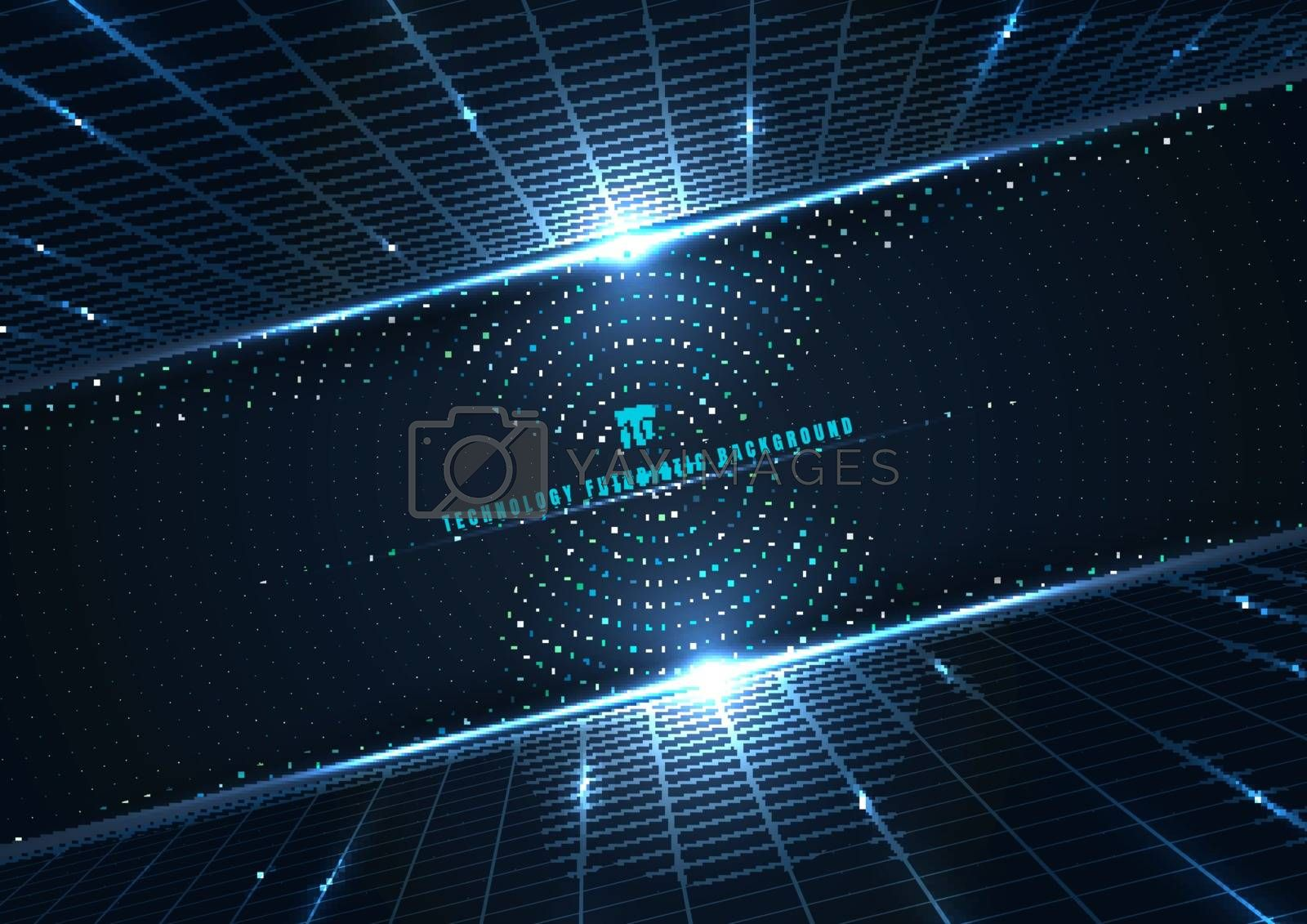 Abstract technology futuristic digital concept perspective grid and lighting effect glowing particles dots elements circle on dark blue background. Big data. Vector illustration