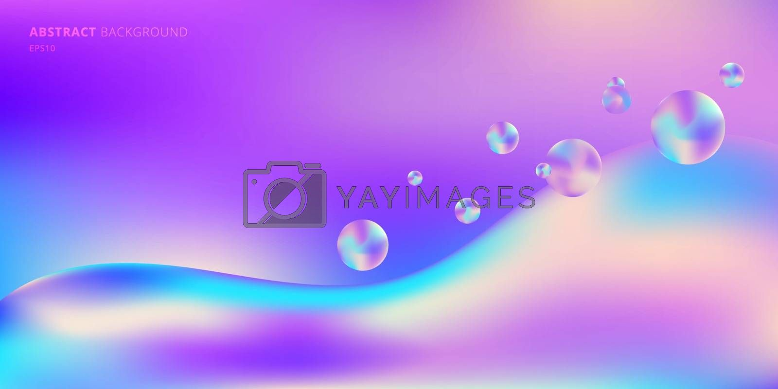 Abstract background trendy fluid gradient shape vibrant color with bubble liquid space for your text. Vector illustration