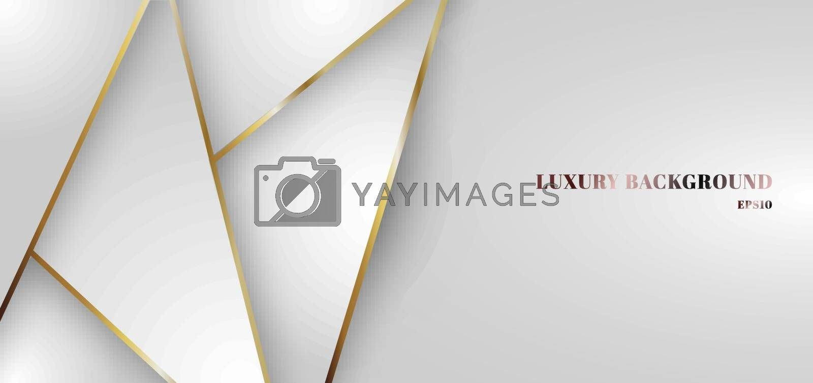 Abstract white gradient triangle low polygon pattern with golden line background. Modern futuristic in luxury presentation style. You can use for brochure, poster, banner web, print, leaflet, flyer. etc. Vector illustration