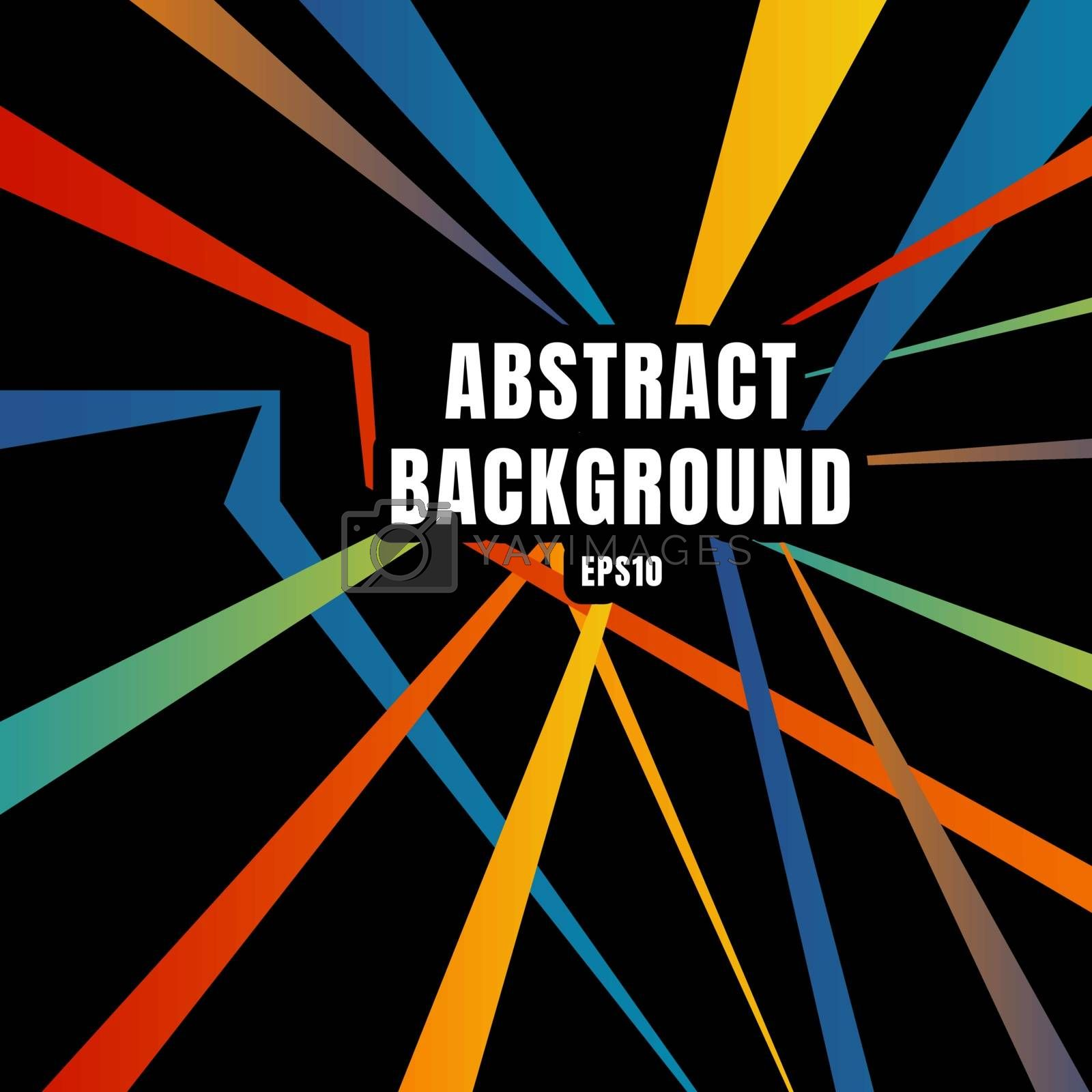 Abstract colorful diagonal line overlap on black background retro style. Vector illustration
