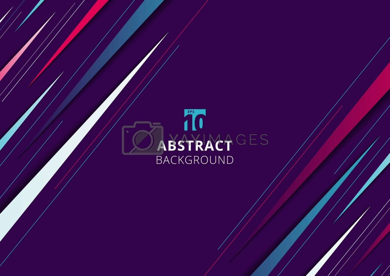 Abstract modern blue, pink and white diagonal dynamic stylish geometric triangles stripe line pattern on purple background with space for your text. Vector illustration