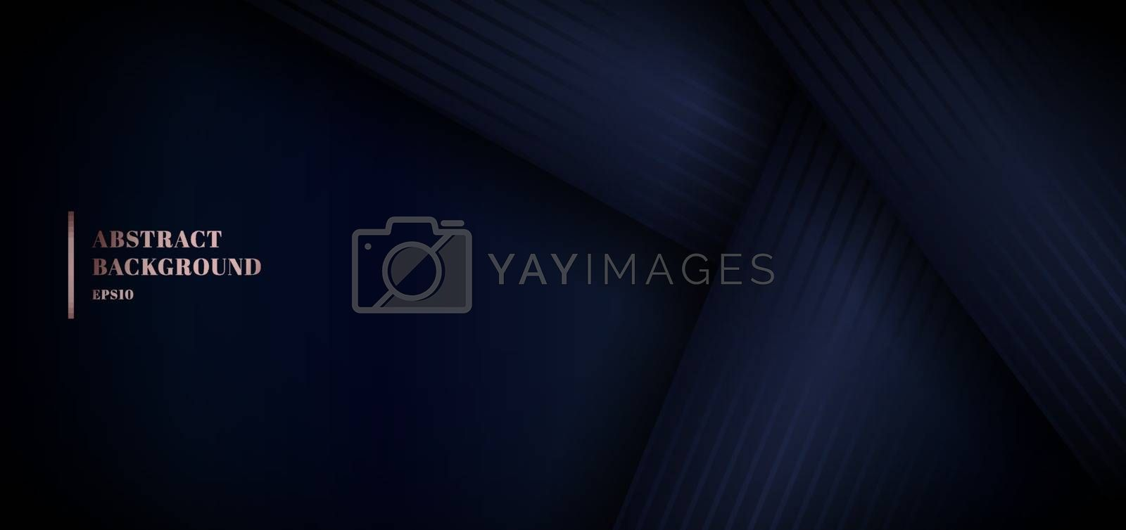 Abstract 3D blue paper overlap layer on dark background with space for your text. Graphic design element. Elegant decoration luxury style. You can use for banner web, cover brochure, etc. Vector illustration