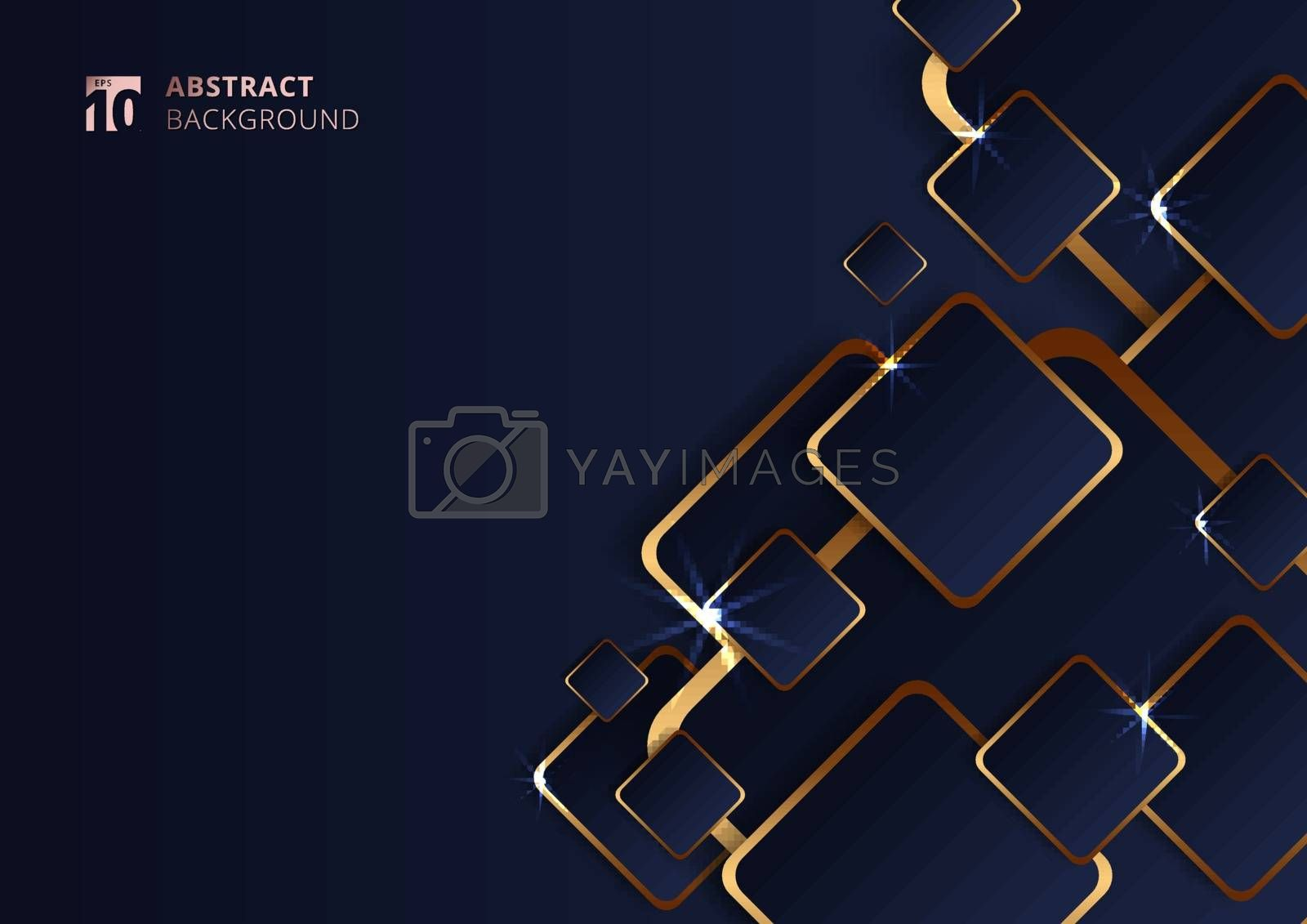 Abstract futuristic geometric golden square pattern on dark blue background with lighting. Vector illustration