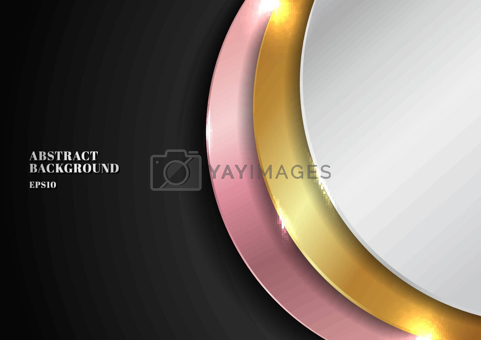 Abstract modern golden, silver, pink gold circle overlapping layered on black background with lighting effect. Luxury style. Vector illustration