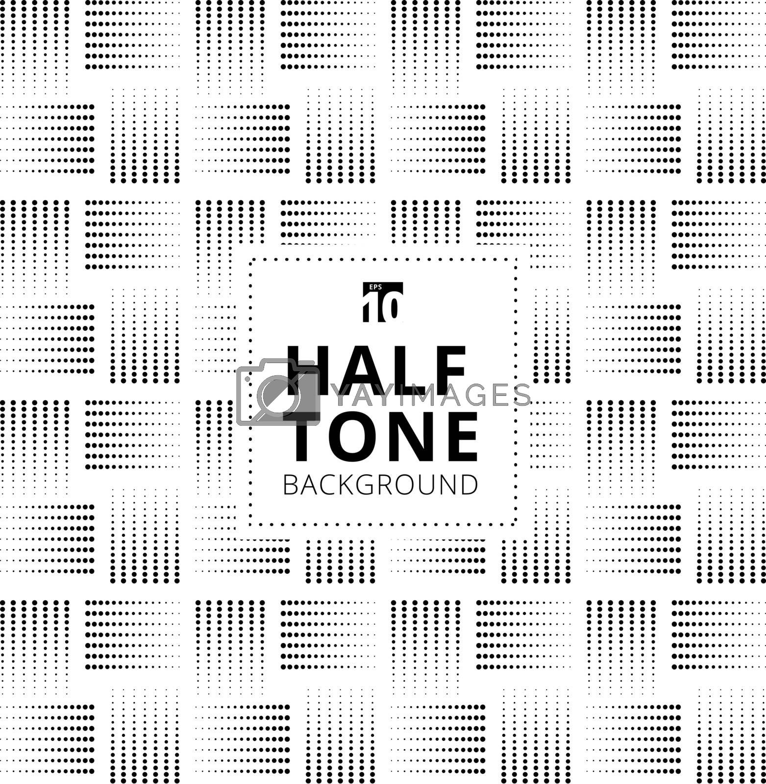 Abstract seamless black halftone lattice pattern on white background. Dotted of the different size line geometric texture. Vector illustration