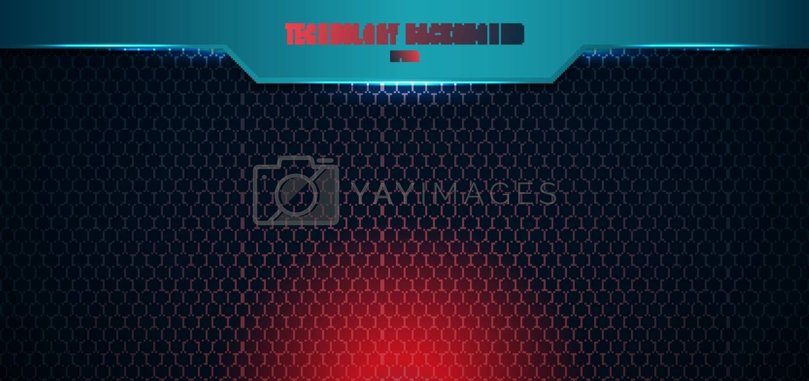 Template blue geometric header on hexagon pattern red lighting background and texture with space for your text. Technology futuristic concept. Vector illustration