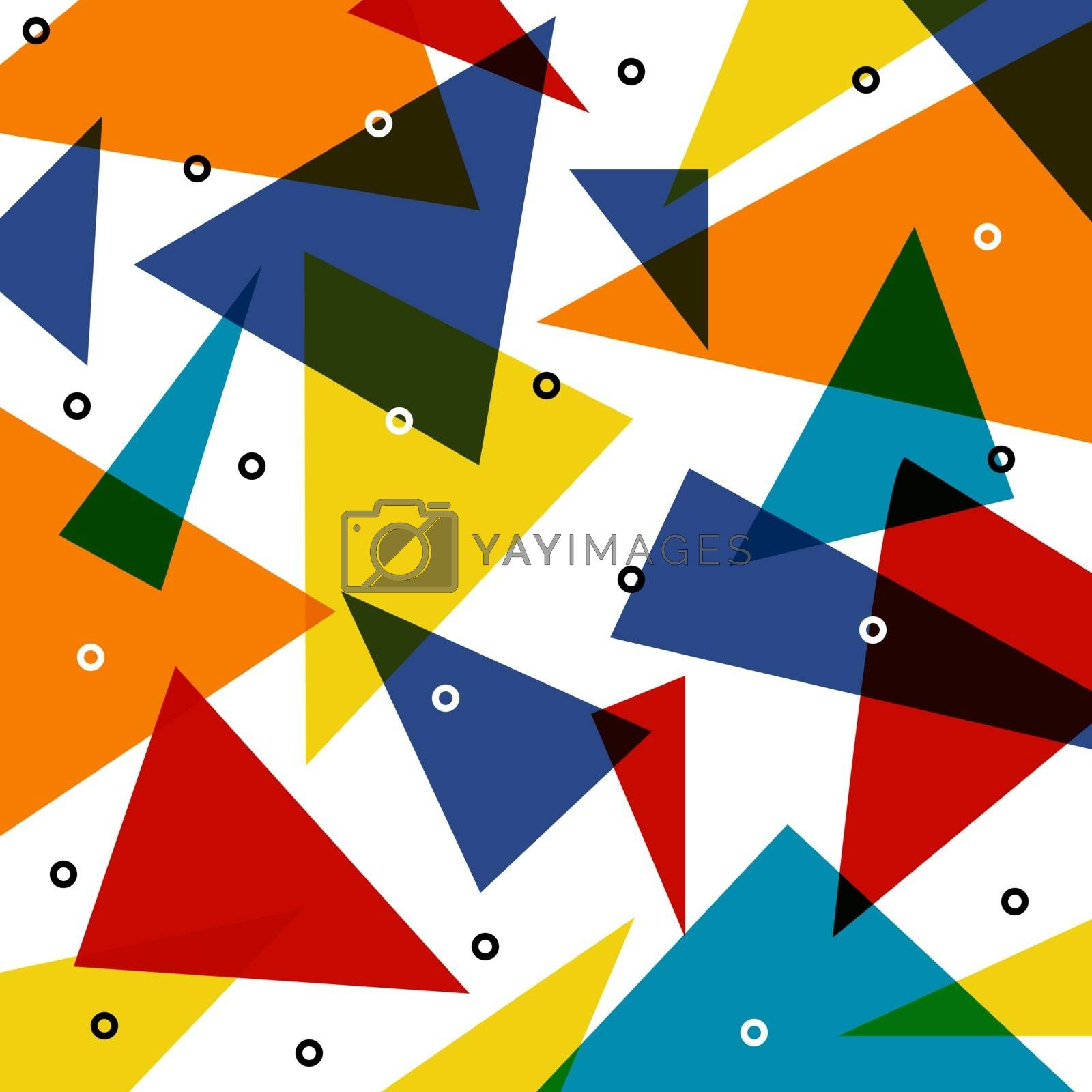 Abstract colorful triangle pattern overlap with circle elements on white background. Vector illustration