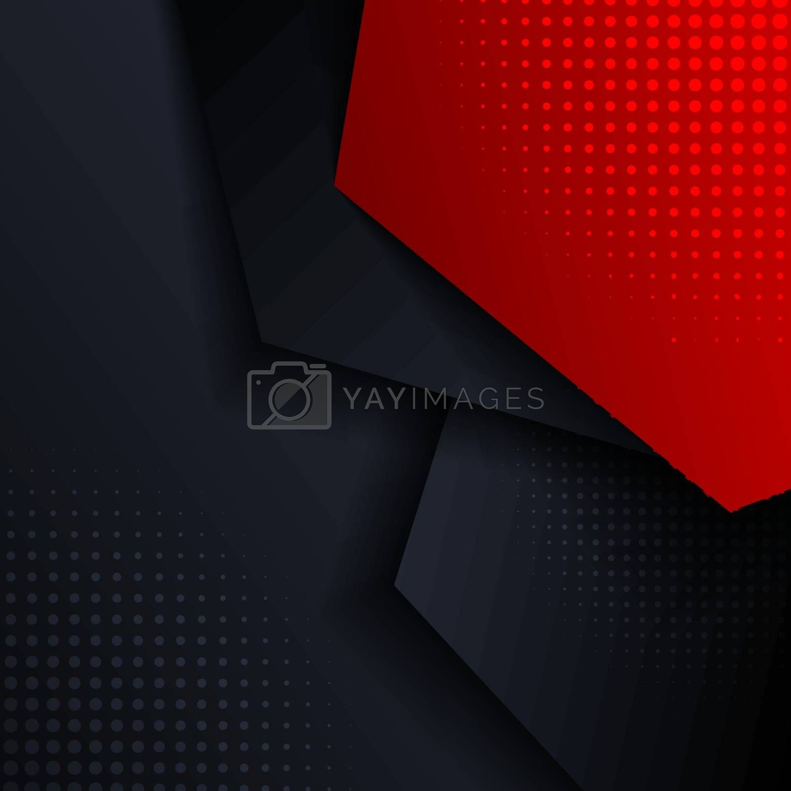 Abstract red and blue geometric hexagon direction overlay layered with shadow and halftone on dark background and texture. Vector illustration