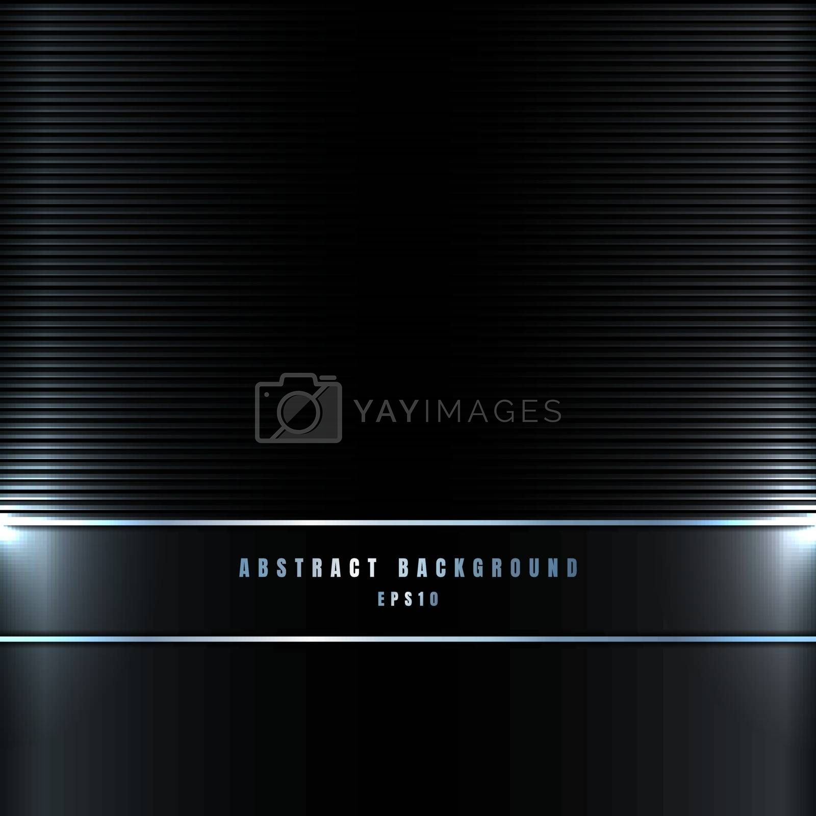 Abstract blue lines with lighting effect on black metallic background and texture. Vector illustration