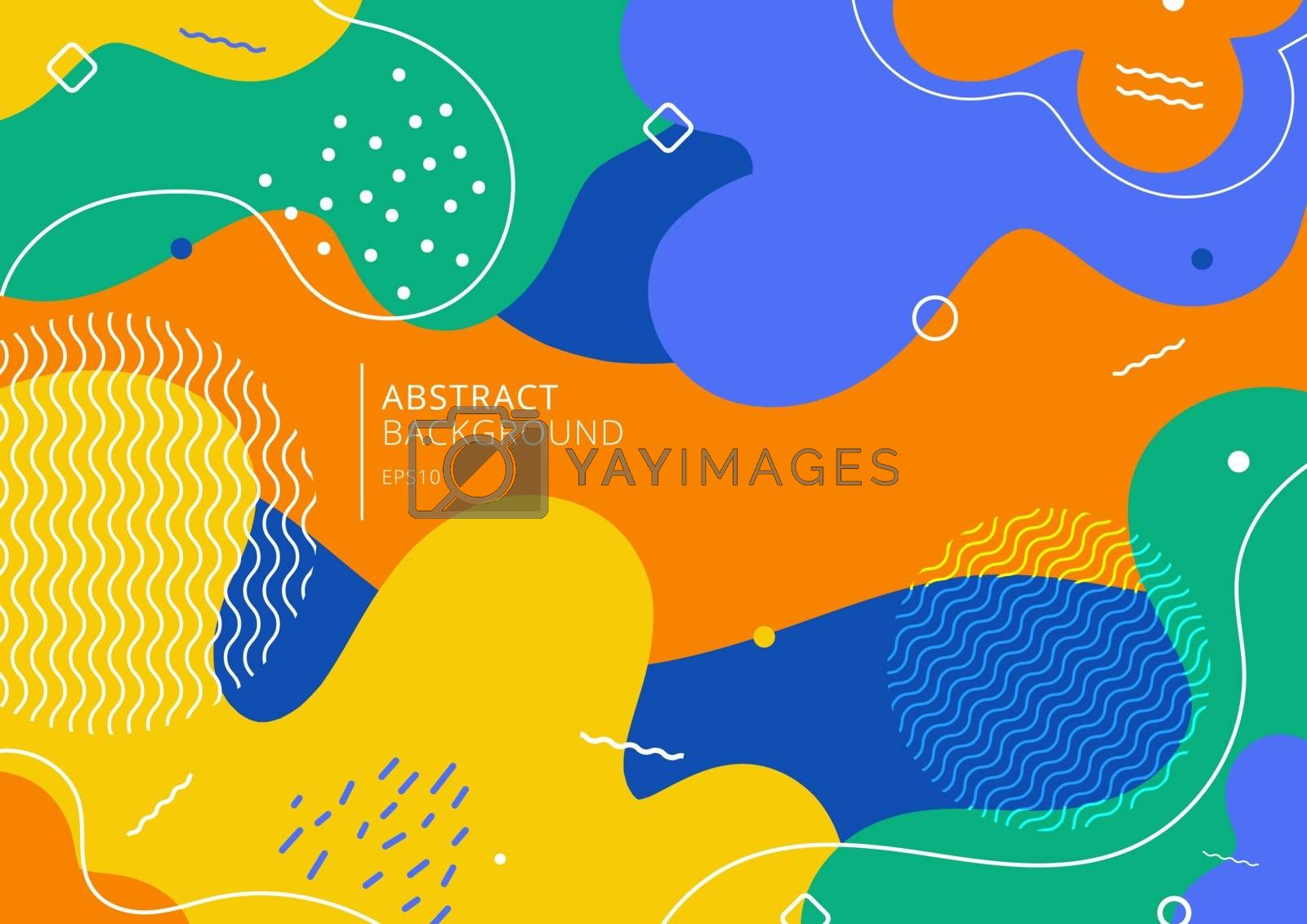 Abstract background trendy colorful splash cartoon overlay spot pattern of geometric shape, line and dot. Memphis 80s-90s style. Vector illustration