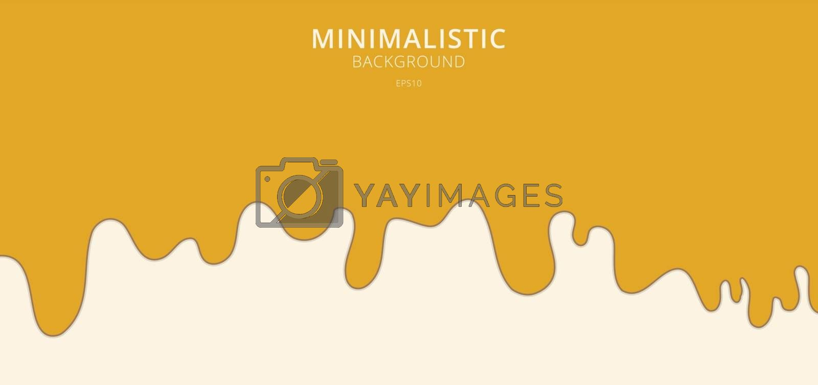 Abstract yellow fluid flowing drop on white background. Minimal style. Vector illustration