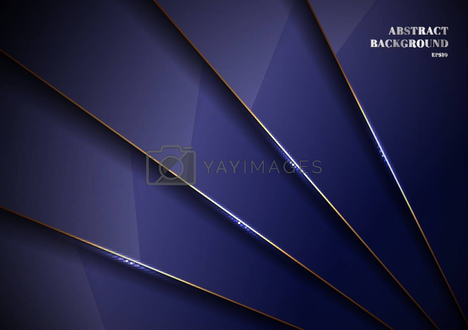 Elegant blue metallic glossy background overlapping layer with shadow with gold line luxury style. You can use for template brochure design. poster, banner web, flyer, etc. Vector illustration