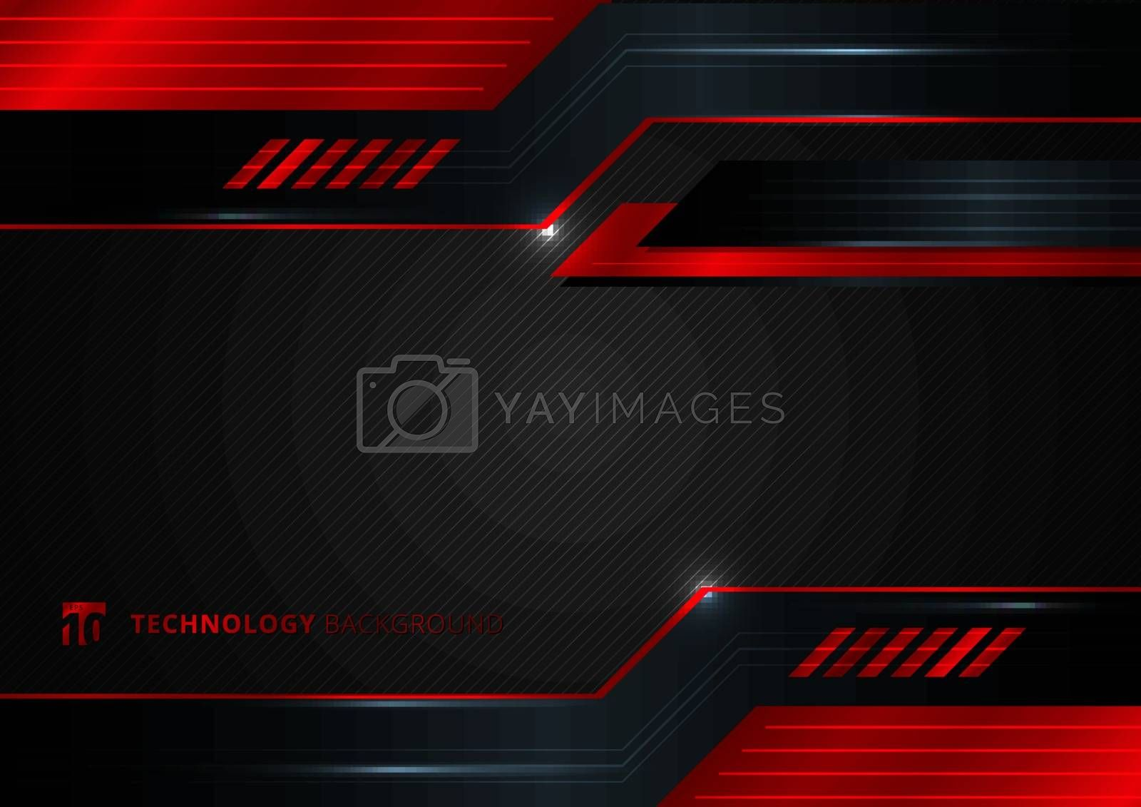 Abstract technology geometric red and black color shiny motion background. Template with header and footers for brochure, print, ad, magazine, poster, website, magazine, leaflet, annual report. Vector corporate