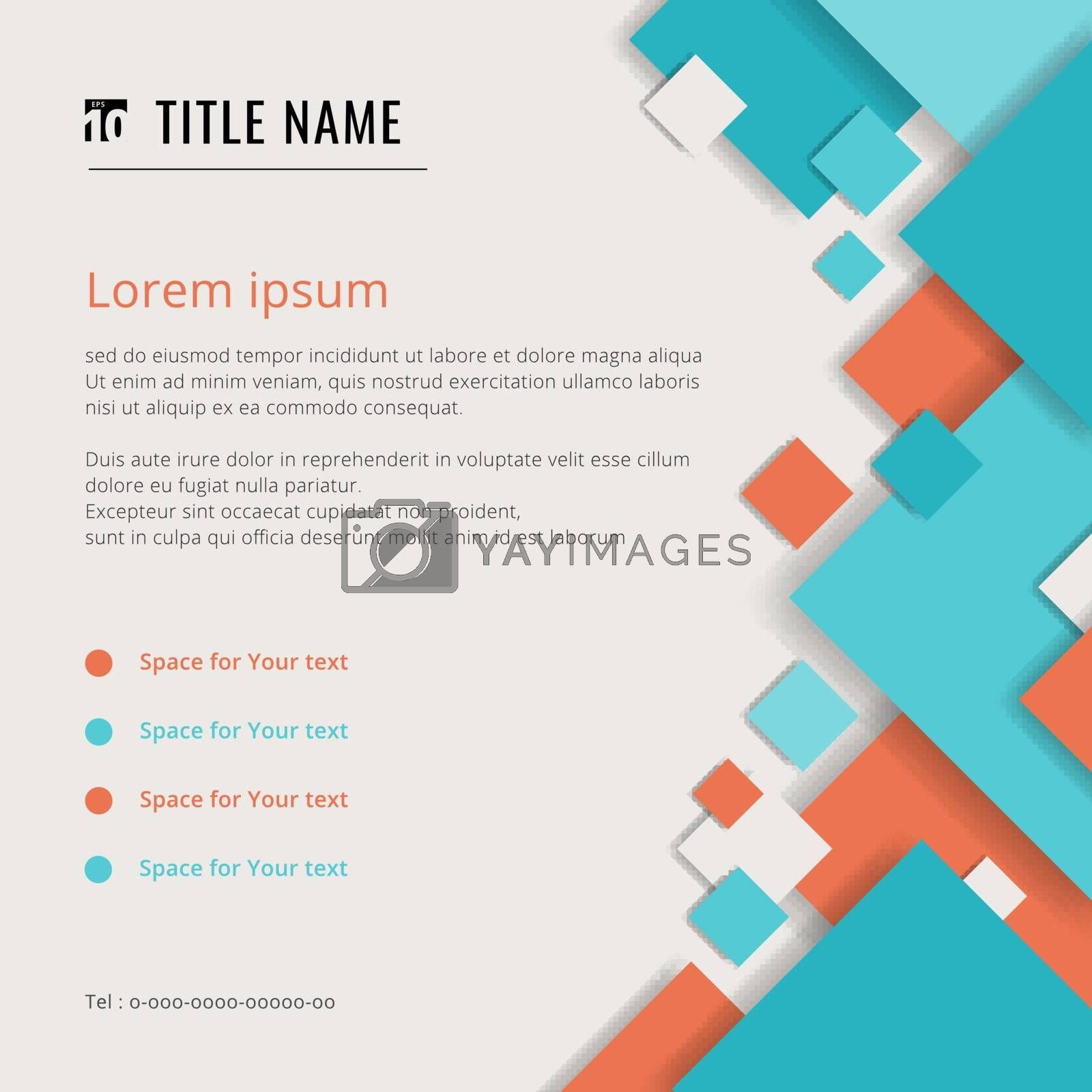 Cover modern template blue and orange geometric square pattern overlay on white background with space for your text. Vector illustration