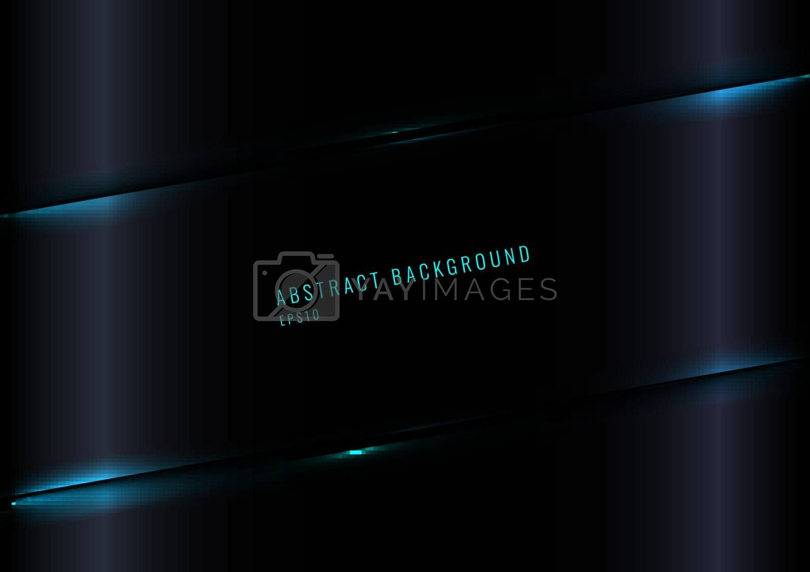 Modern Black Glossy Gradient Color Background with Blue Laser Lighting Effect. Vector Illustration