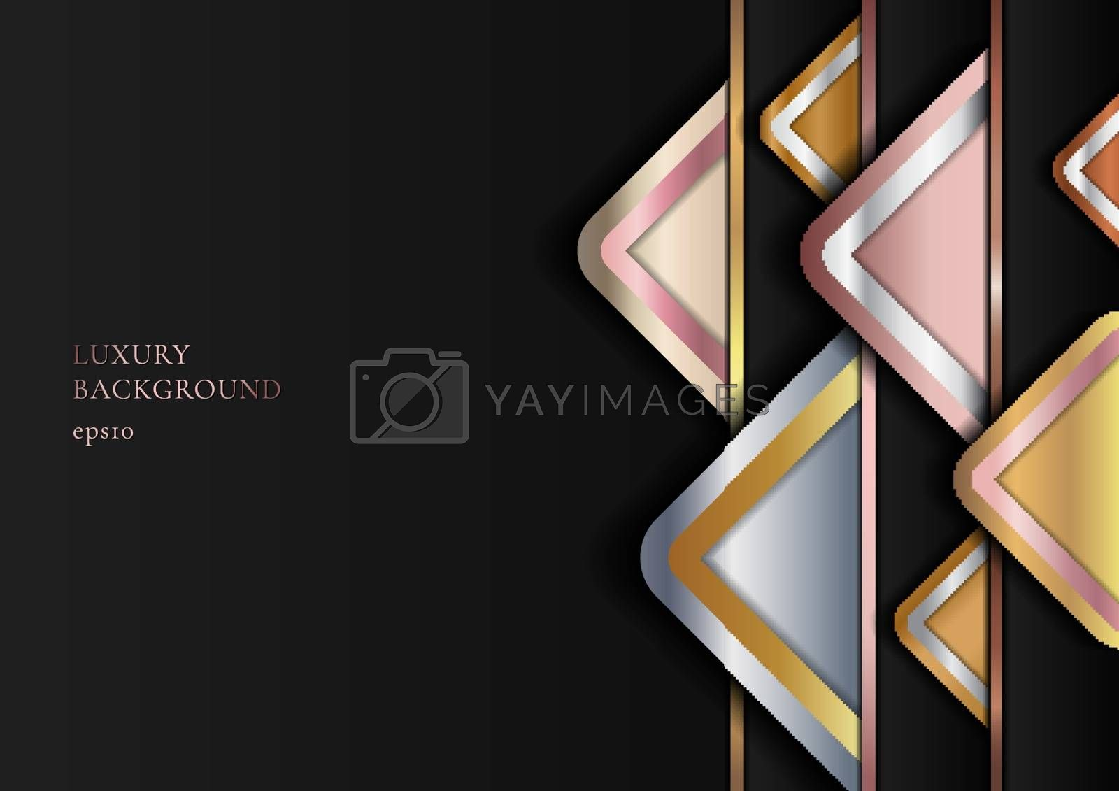Abstract Modern Luxury Style Geometric Golden, Pink Gold, Silver Metallic on Black Background. Vector Illustration