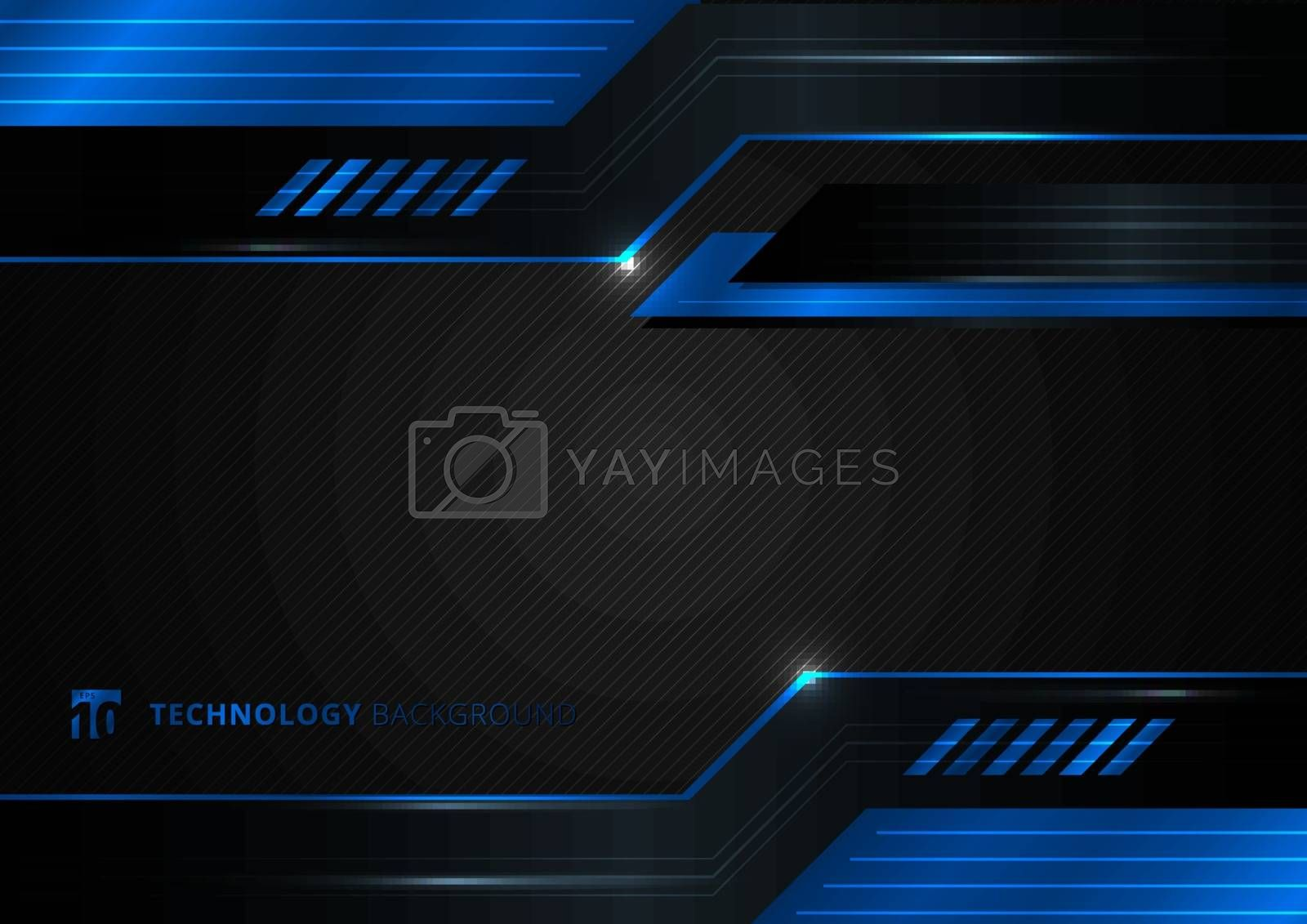 Abstract technology geometric blue and black color shiny motion background. Template with header and footers for brochure, print, ad, magazine, poster, website, magazine, leaflet, annual report. Vector corporate
