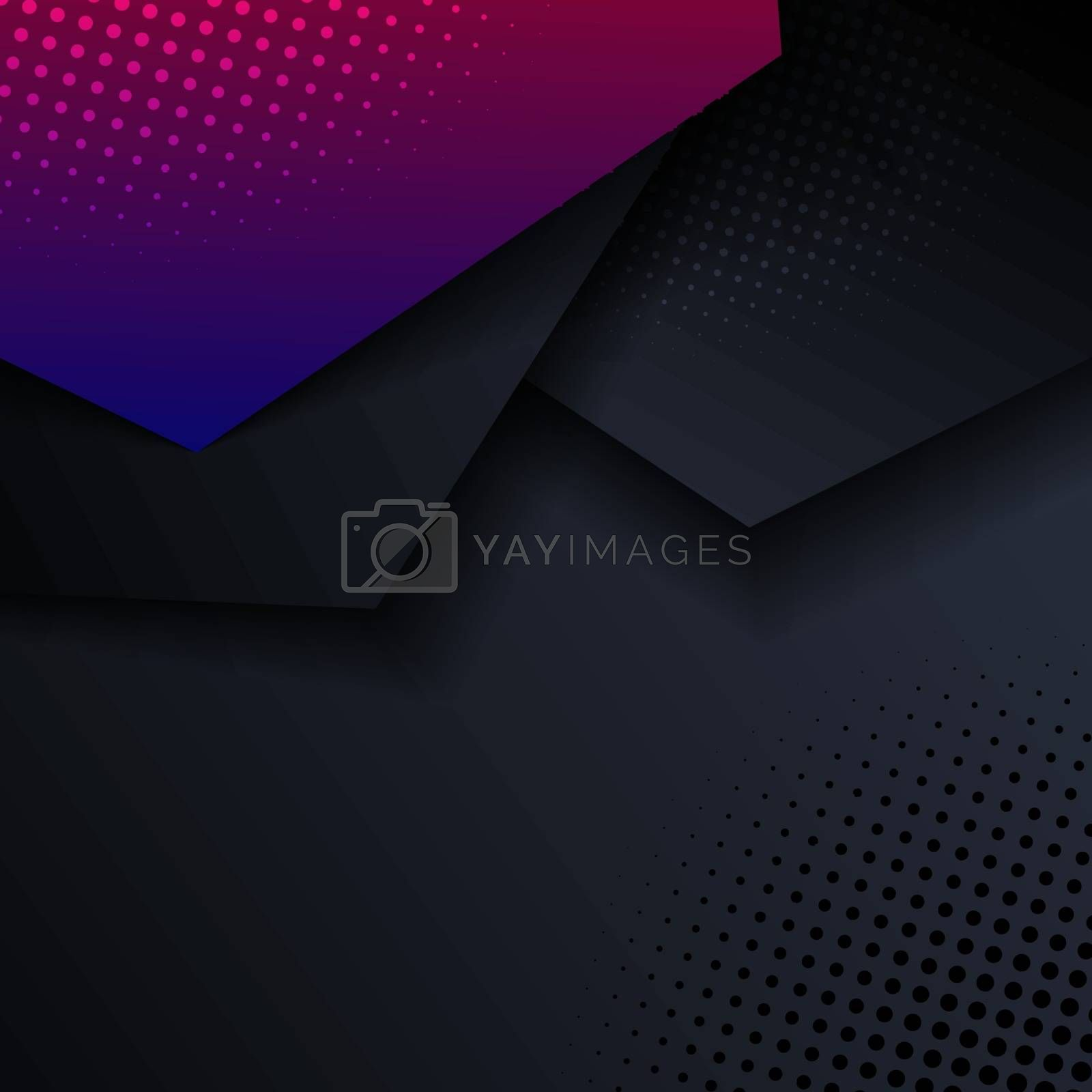 Abstract pink and blue geometric hexagon direction overlay layered with shadow and halftone on black background and texture. Vector illustration