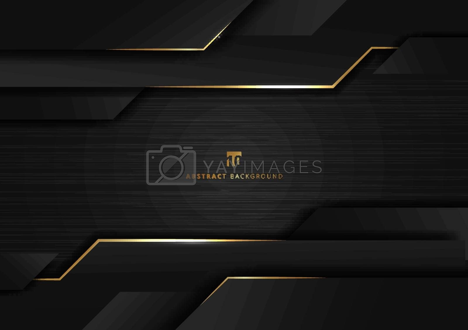 Abstract technology geometric glowing gold and black color shiny motion dark metallic background. Template with header and footers for brochure, print, ad, magazine, poster, website, magazine, leaflet, annual report. Vector corporate