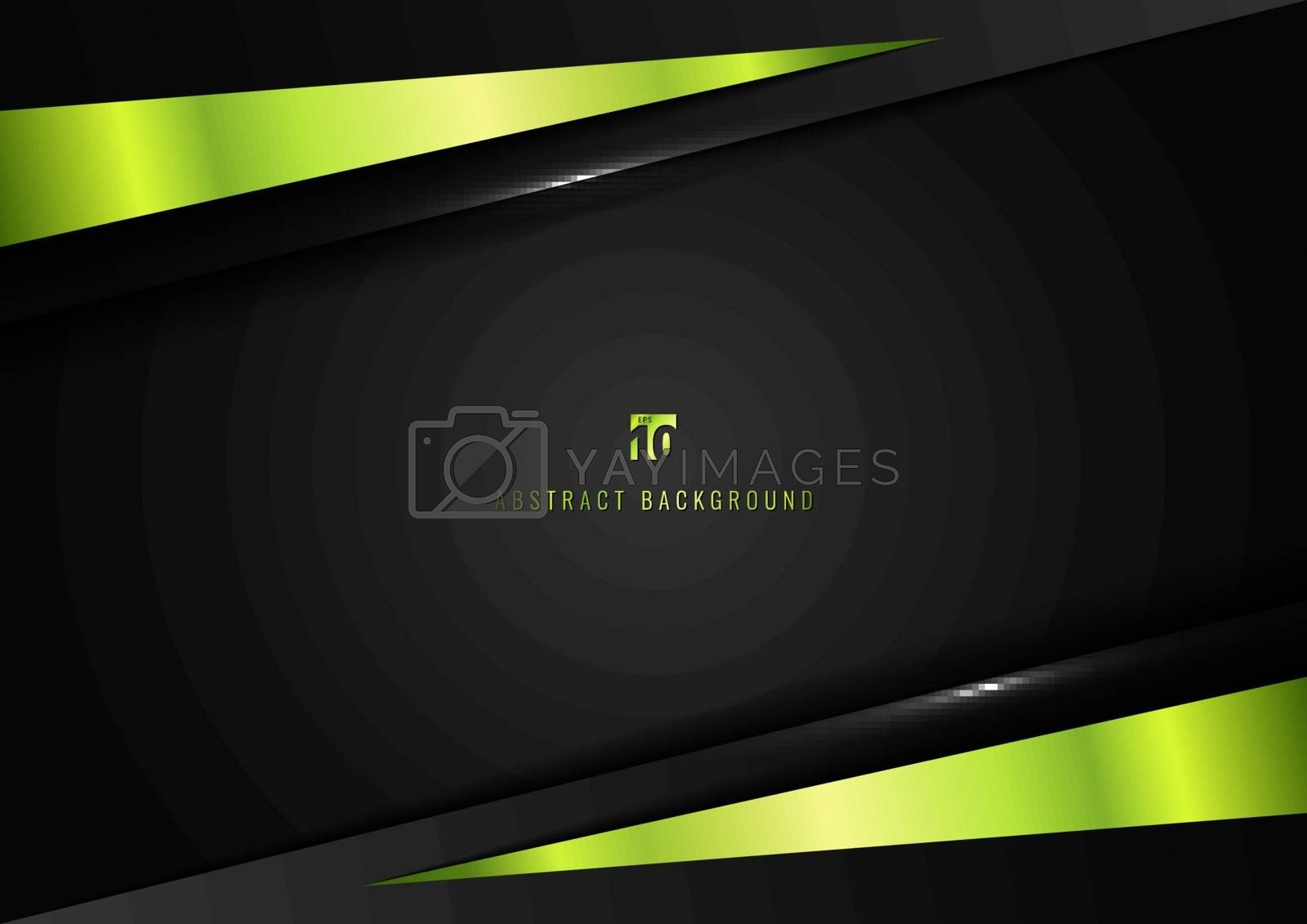 Template Corporate Concept Geometric Triangle green and Black Contrast on Dark Background. Vector Graphic Design Illustration