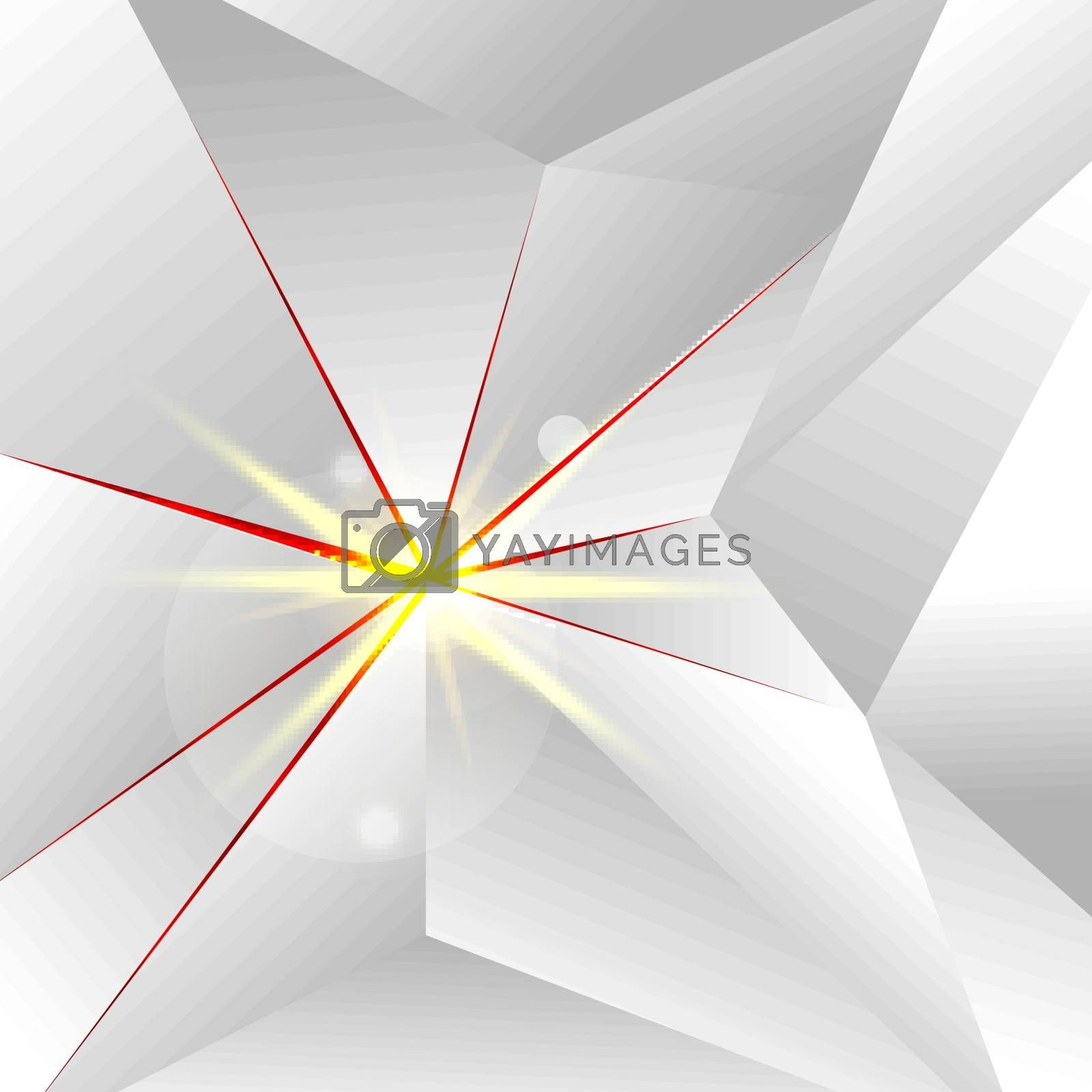 Abstract White Low Polygon with lighting on Red Background and Texture. Vector Illustration