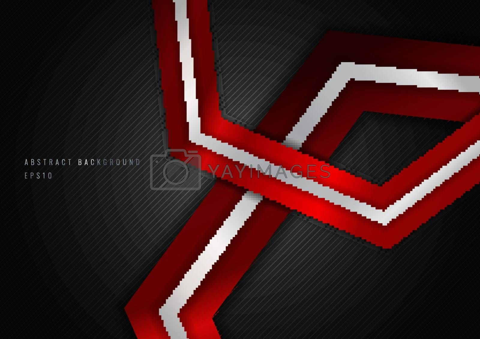 Abstract Red Metalic Geometric Hexagon with Silver Line Metal Overlapping Layer on Black Background. Vector Illustration