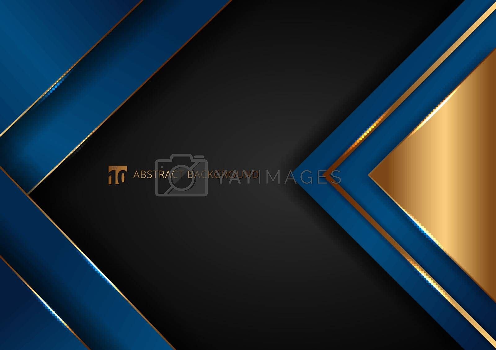 Abstract elegant blue geometric overlap layers with stripe golden line and lighting on black background. Luxury style. Vector illustration