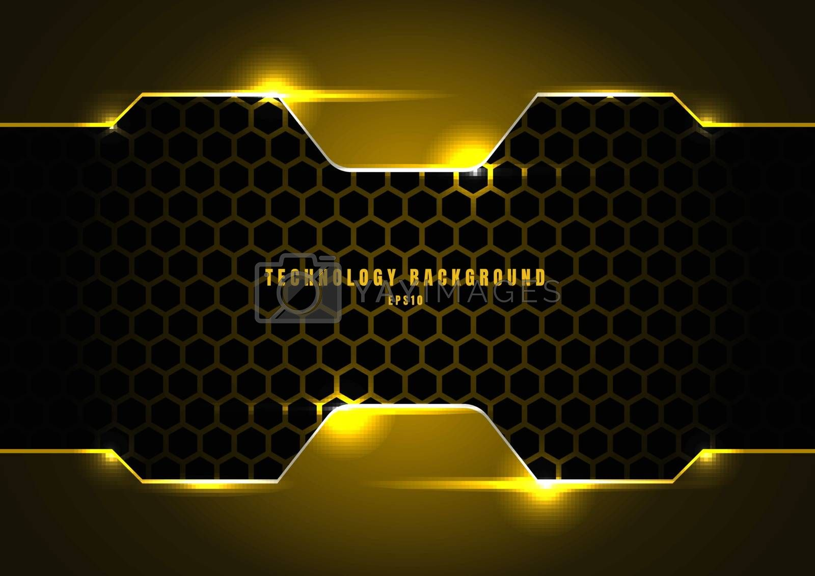 Abstract black and yellow metallic frame with lighting on hexagons texture pattern technology innovation concept background. Vector illustration