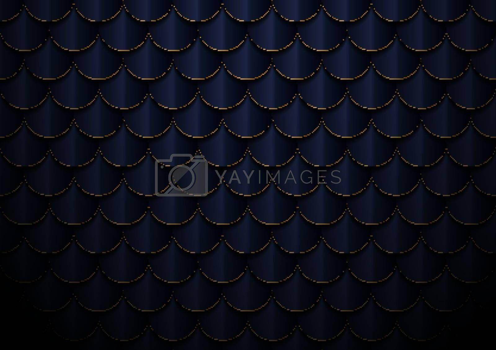 Abstract elegant dark blue and gold geometric semicircle pattern background and texture. Fish scale, roof texture, Vector illustration