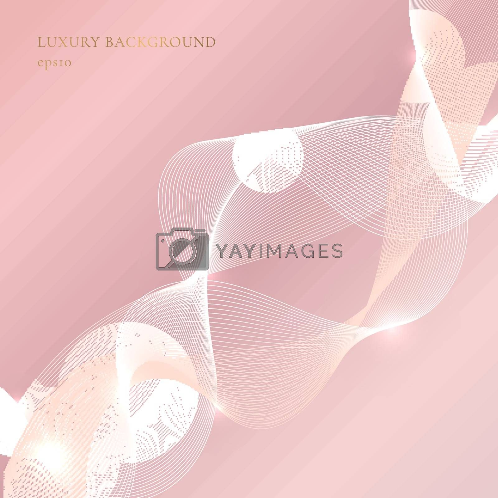 Abstract wavy fluid lines with lighting on pink gold background. Luxury style. Vector illustration