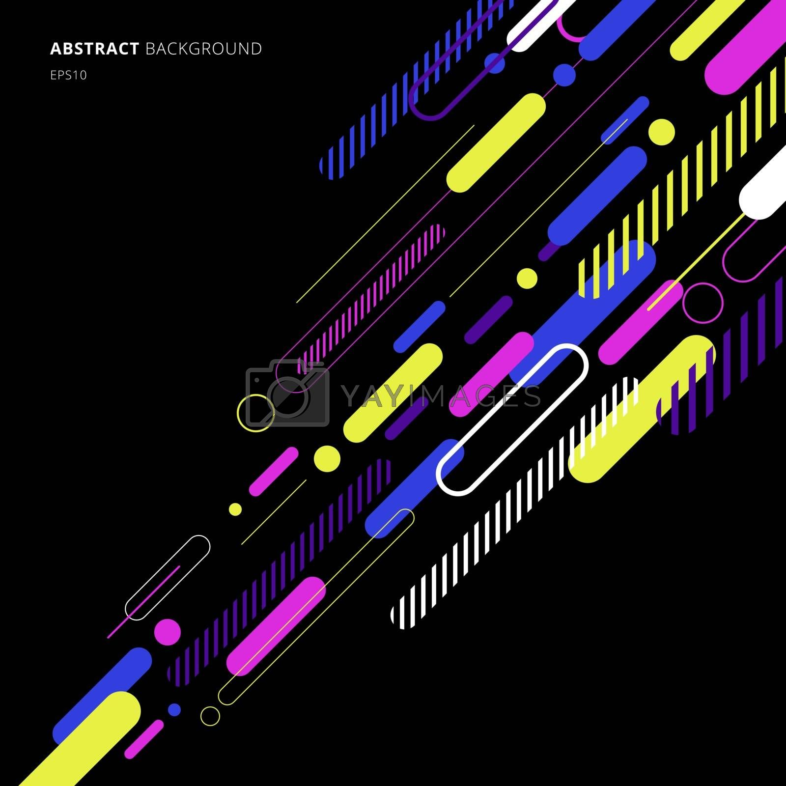 Abstract elements dynamic rounded line diagonal pattern colorful on black background. Vector illustration