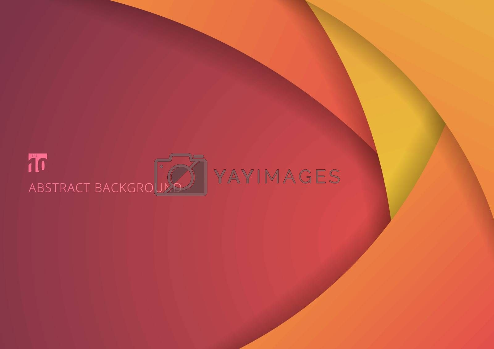 Abstract yellow and pink curve circle paper layer overlapping background. Vector illustration
