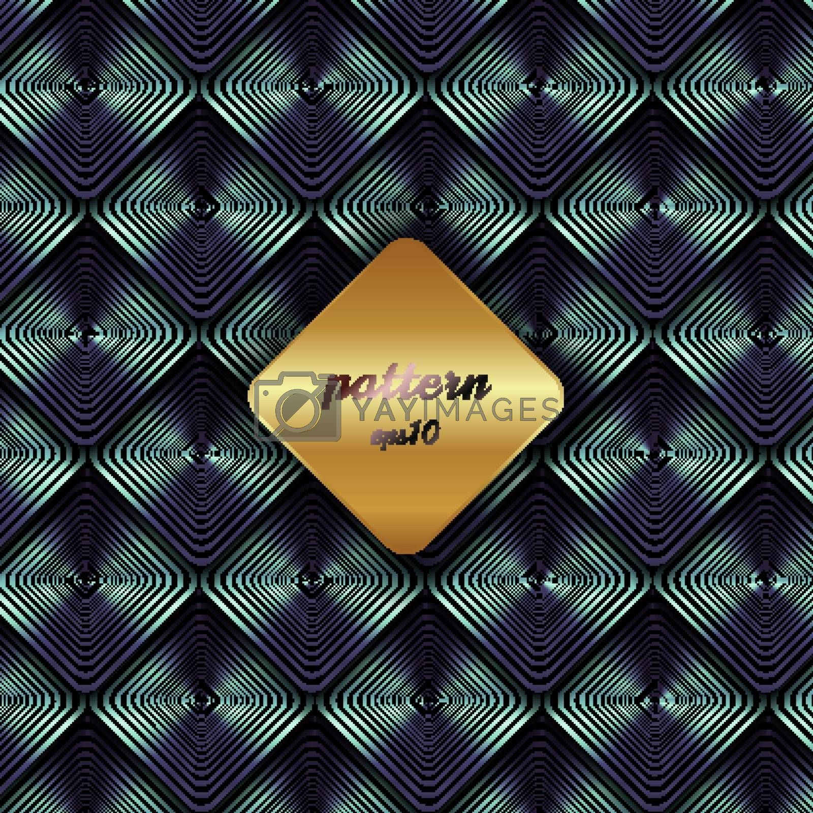 Abstract metallic geometric blue square pattern with shadow and golden background label. Luxury style. Vector illustration