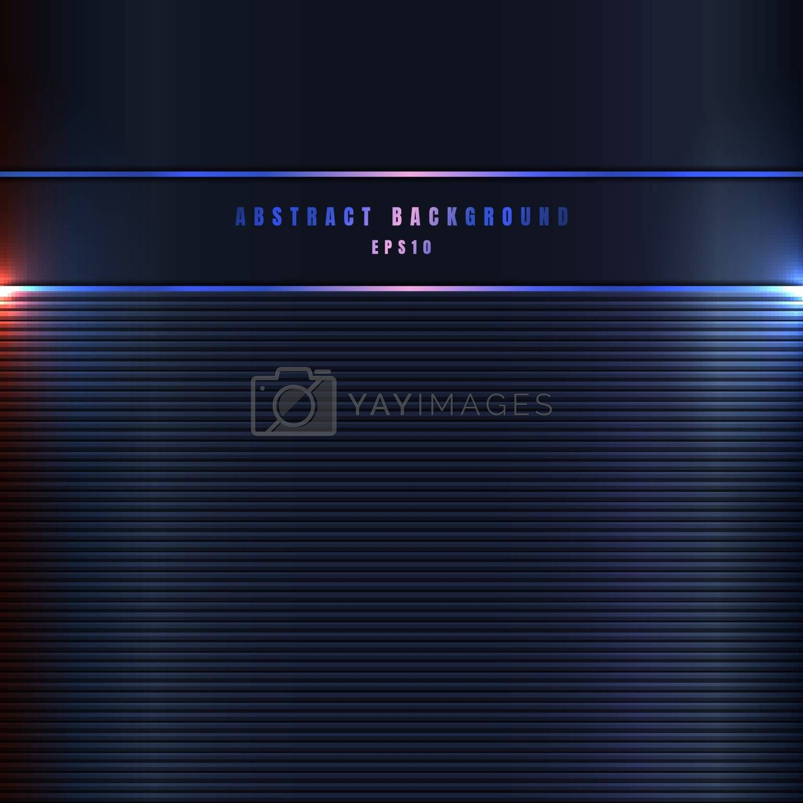 Abstract metal lines with lighting effect on dark blue metallic background and texture. Vector illustration