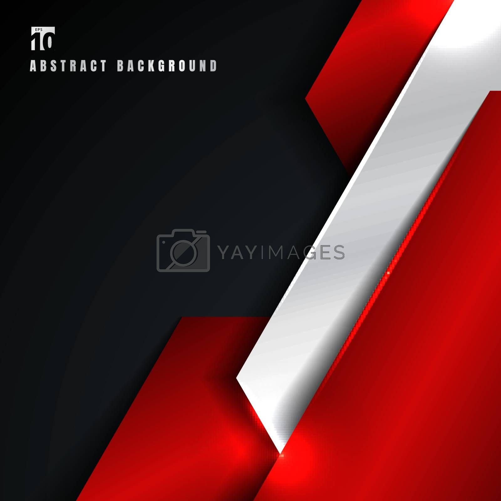 Abstract red and silver metallic metal geometric overlapping layer on black background. Technology style. Vector illustration