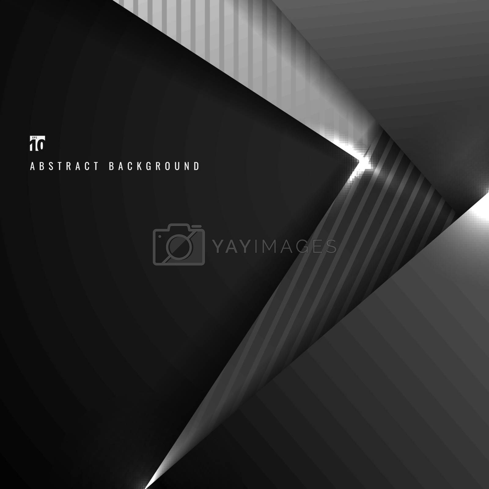Abstract black and gray geometric triangle overlapping dimension layer 3D paper on dark background. Vector illustration