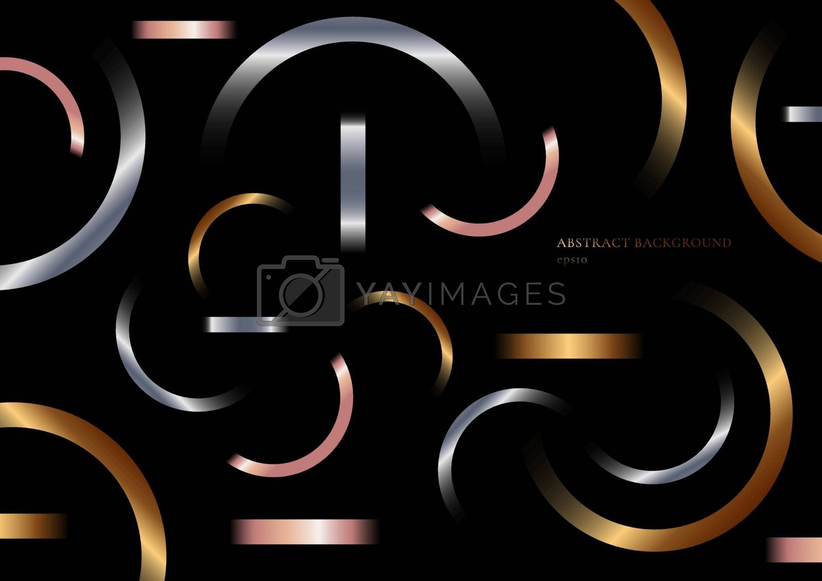 Abstract geometric metallic gradient shapes composition golden, silver, pink gold on black background. Vector illustration
