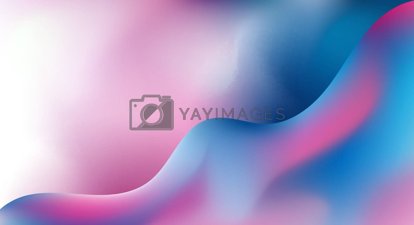Abstract trendy 3D fluid blue and pink gradient wave shape background with space for your text. You can use for creative design. beautiful liquid interweaving. Business presentation. Vector illustration