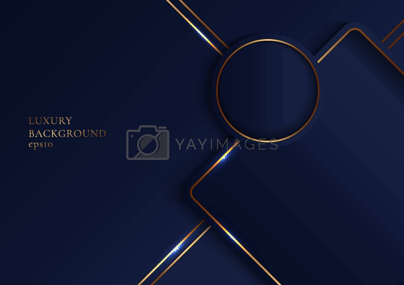 Abstract elegant geometric overlap layers with glowing gold stripes lines on dark blue background. Luxury style. Vector illustration
