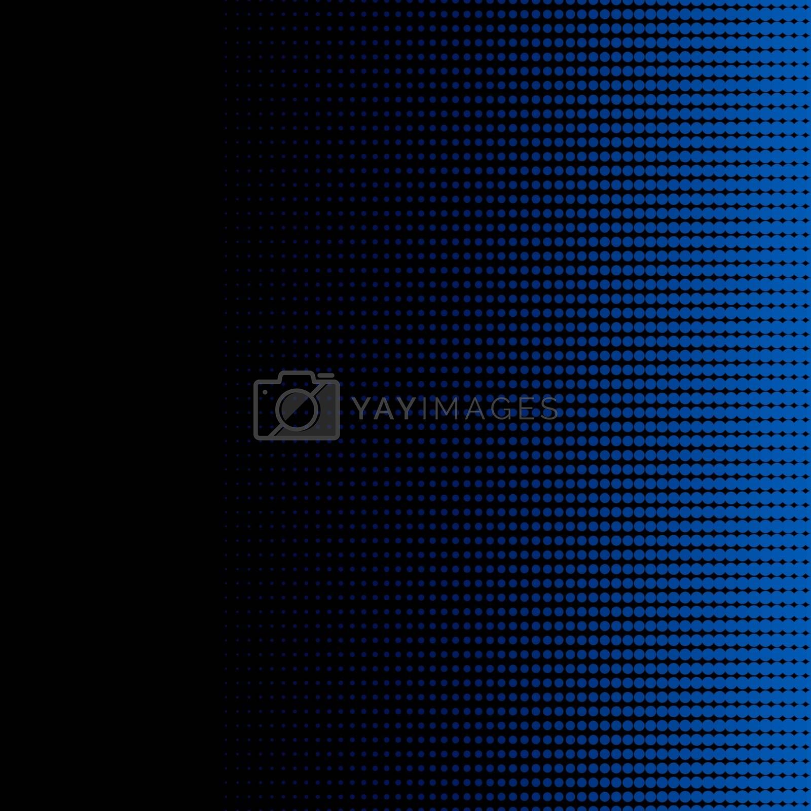 Blue halftone dots on black background and texture. Vector illustration