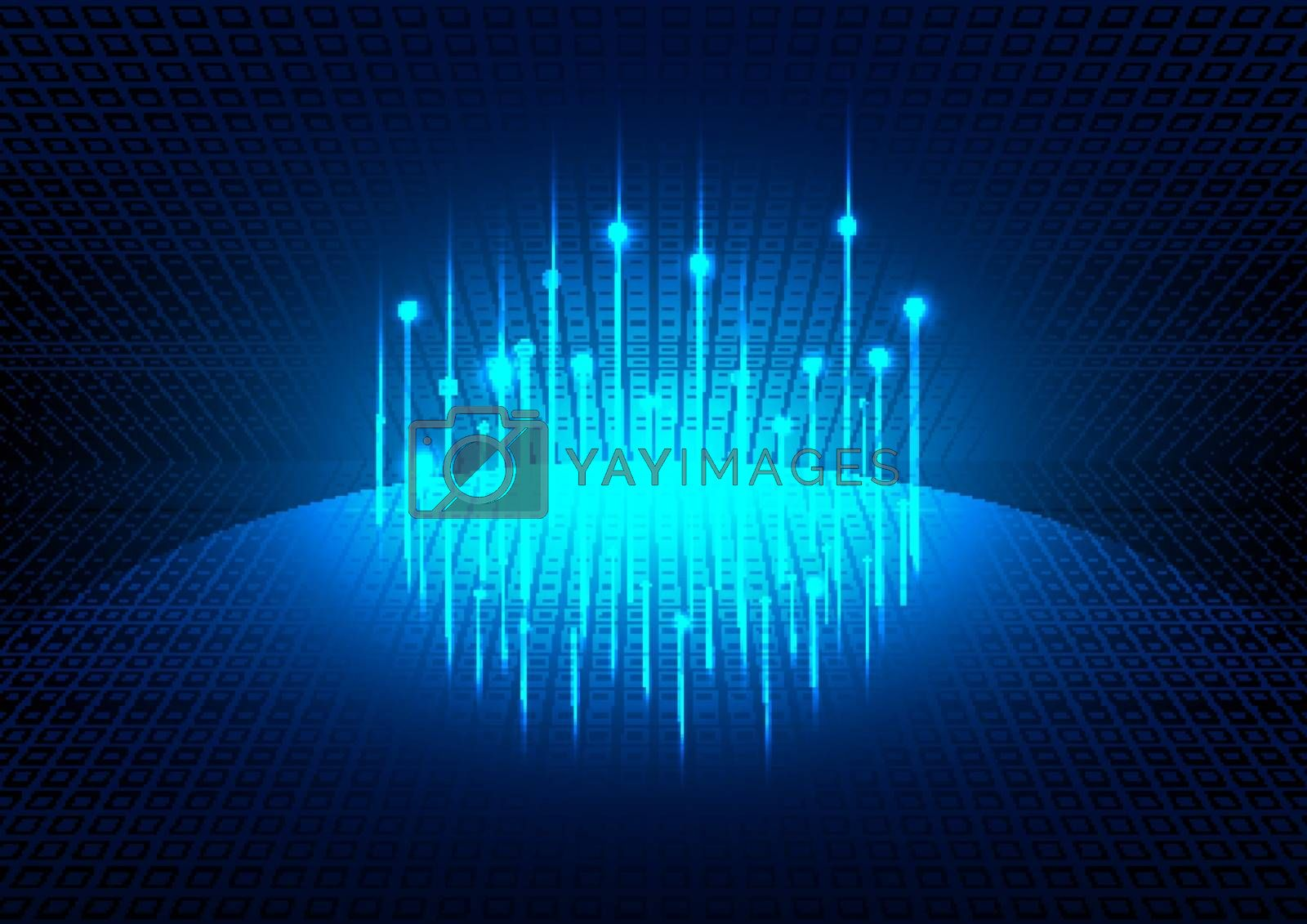 Blue glowing futuristic background with planet global social network. Technology concept. Vector illustration