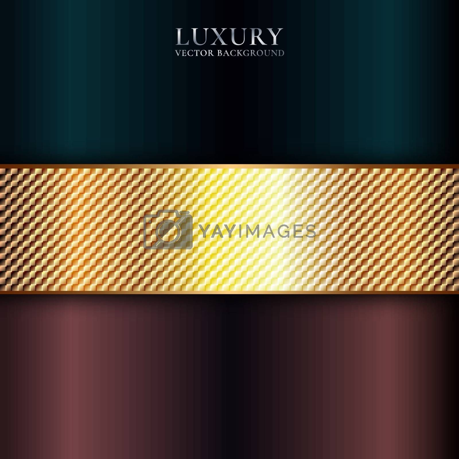 Abstract shiny metallic golden, blue, red stripe premium background with space for your text. Luxury style. You can use for banner web, cover brochure, print ad, etc. Vector illuxtration