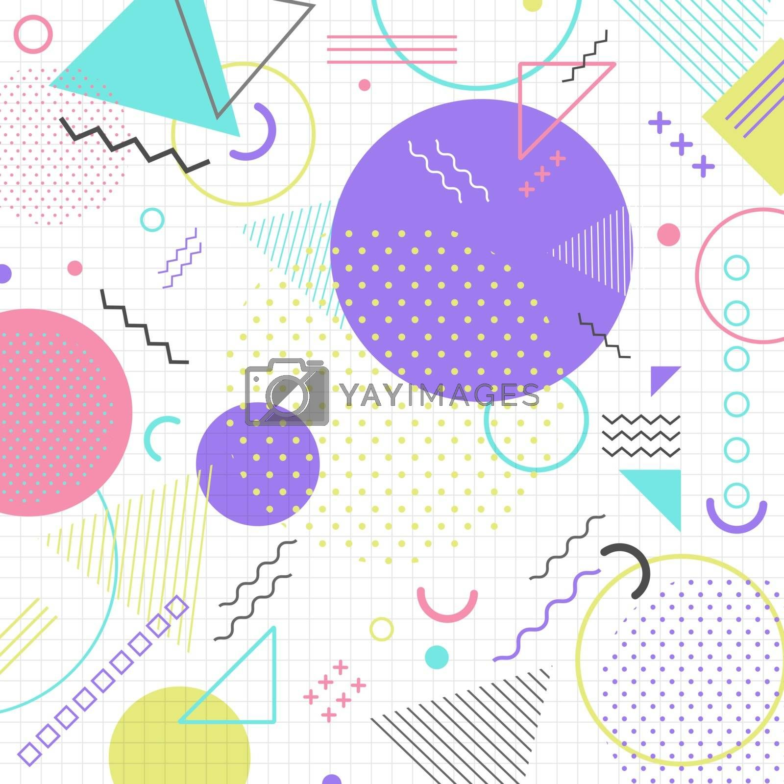 Abstract geometric shape pattern in retro 80s on grid background. Memphis style. Vector illustration