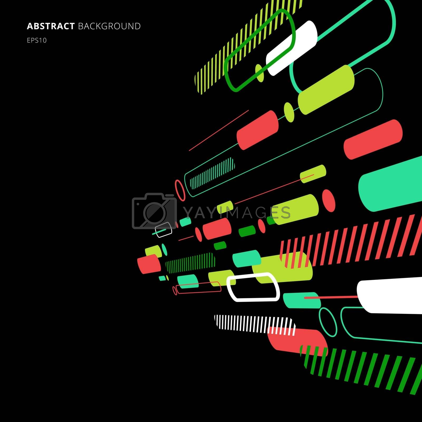 Abstract elements dynamic rounded line diagonal pattern colorful perspective on black background. Vector illustration