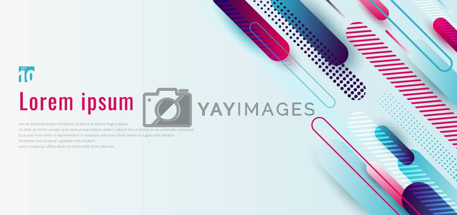 Banner web design template dynamic blue and pink geometric rounded line diagonal pattern stripes line elements on white background. Vector illustration