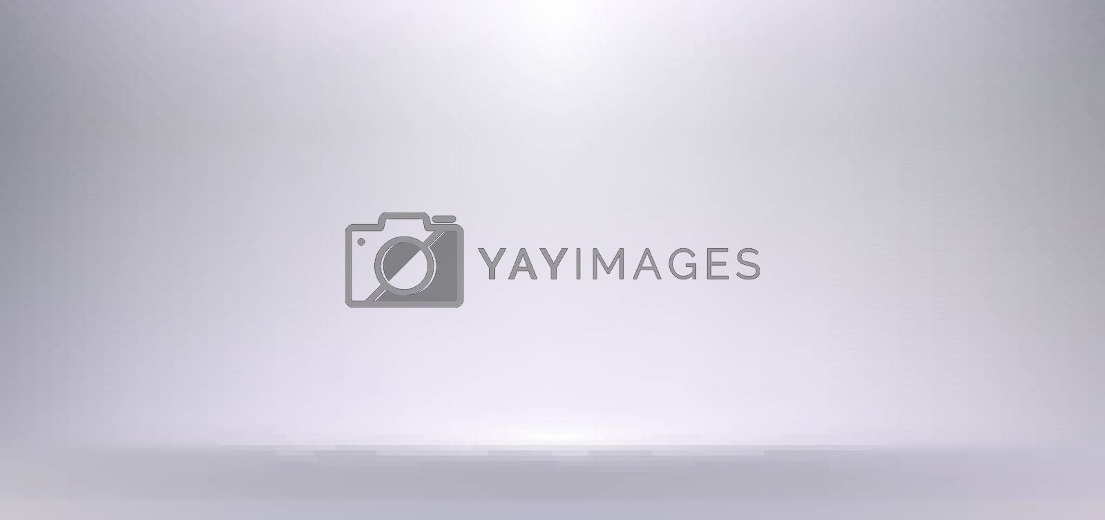 3D empty white and gray studio room background with spotlight on stage background. Display your product or artwork luxury style. Vector illustration