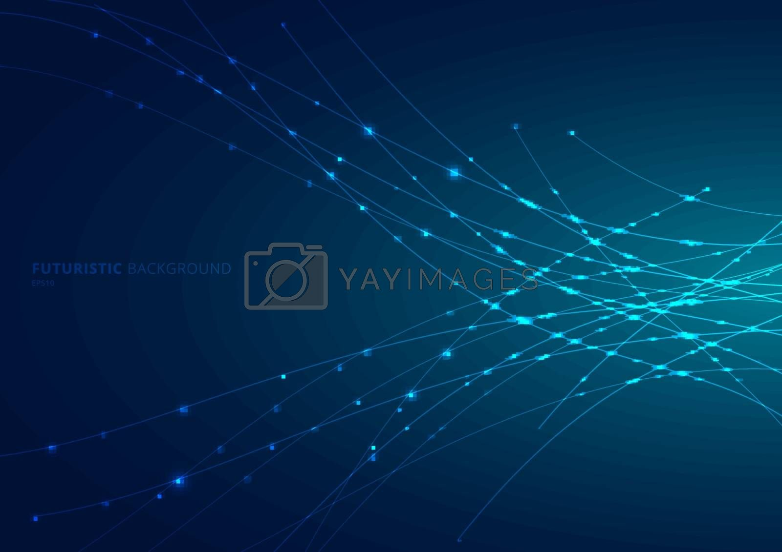 Abstract blue laser line curved with sparkle lighting on dark blue space background. Digital technology futuristic concept. Vector illustration